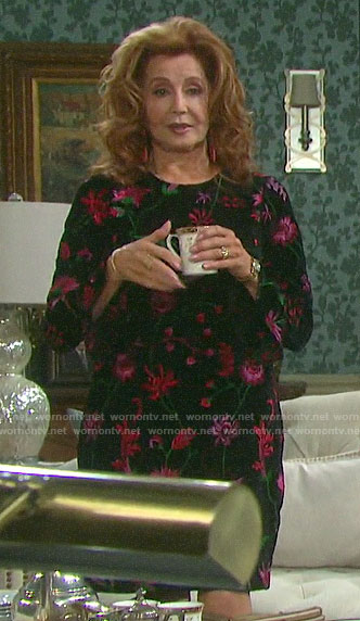 Maggie's floral velvet dress on Days of our Lives