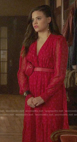 Maggie's red midi dress and heart studded belt bag on Charmed