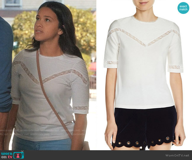 Maje Tasha Lace Seam Tee worn by Jane Villanueva (Gina Rodriguez) on Jane the Virgin