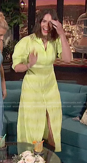 Mandy Moore's lime puff sleeve dress on Busy Tonight