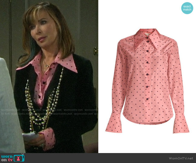 Marc Jacobs Polka Dot Button Down Shirt worn by Kate Roberts (Lauren Koslow) on Days of our Lives