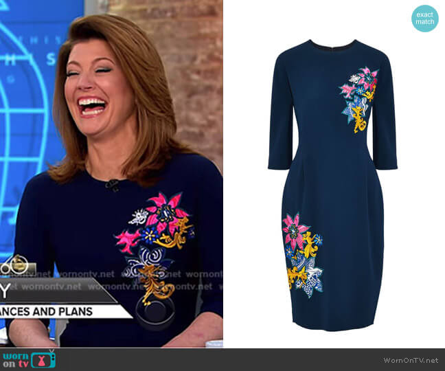 Disney Appliquéd Crepe Dress by Mary Katrantzou worn by Norah O'Donnell (Norah O'Donnell) on CBS This Morning