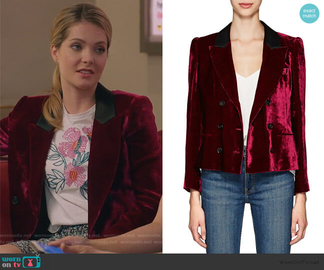 Marion Velvet Double-Breasted Crop Blazer by Masscob worn by Sutton (Meghann Fahy) on The Bold Type