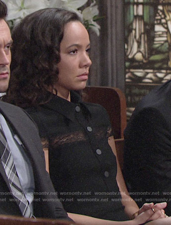 Mattie's black lace-inset shirtdress on The Young and the Restless