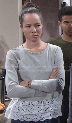 Mattie's grey sweatshirt with eyelet layer on The Young and the Restless