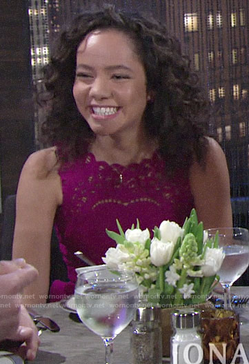 Mattie's pink scalloped eyelet dress on The Young and the Restless