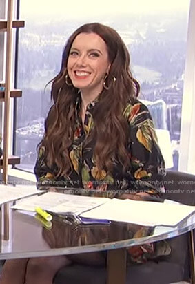 Melanie's black floral shirtdress on Live from E!