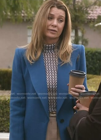 Meredith's v-print top and blue coat on Grey's Anatomy
