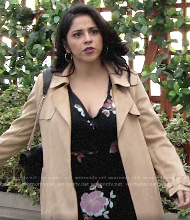 Mia's black floral dress and suede trench coat on The Young and the Restless