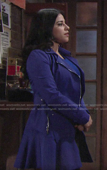 Mia's blue flared hem coat on The Young and the Restless