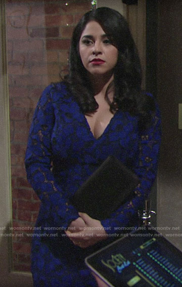 Mia's blue lace dress on The Young and the Restless