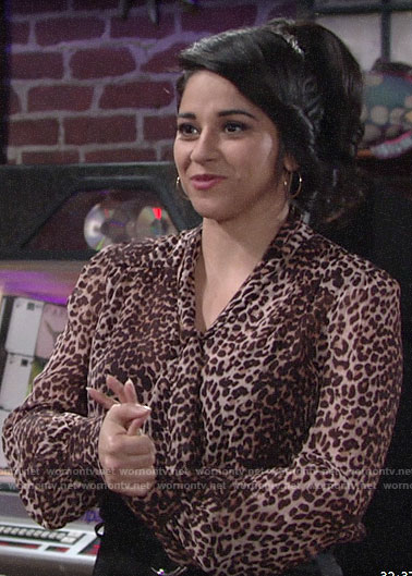 Mia's leopard print blouse on The Young and the Restless