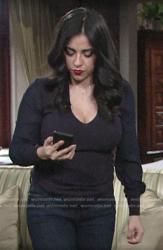 Mia's navy mesh sleeve sweater on The Young and the Restless