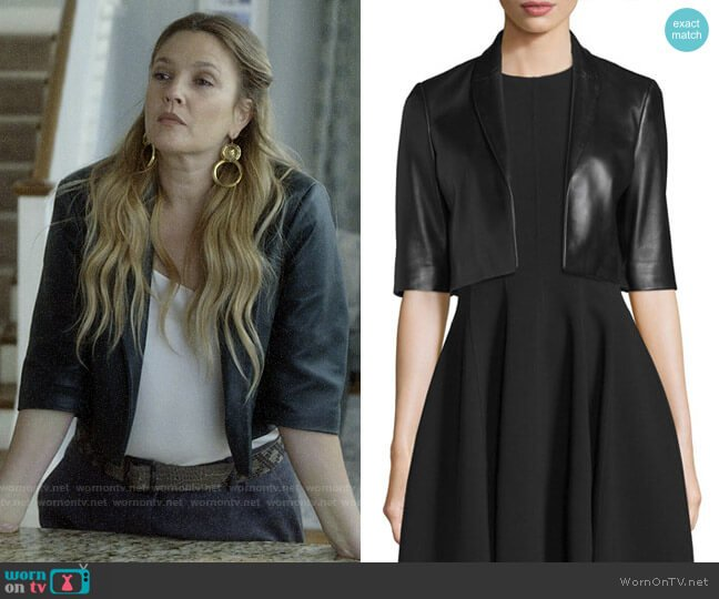 Michael Kors Half-Sleeve Cropped Leather Jacket worn by Sheila Hammond (Drew Barrymore) on Santa Clarita Diet