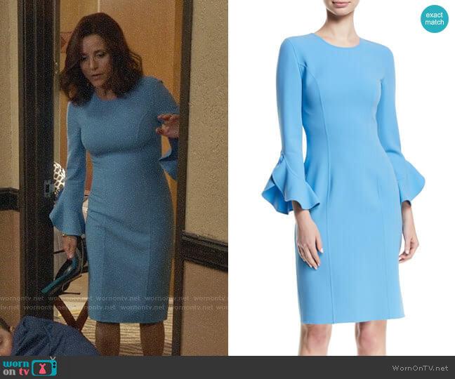6ca56a4dcb8 Michael Kors Ruffle Sleeve Stretch Wool Sheath Dress worn by Selina Meyer  (Julia Louis-