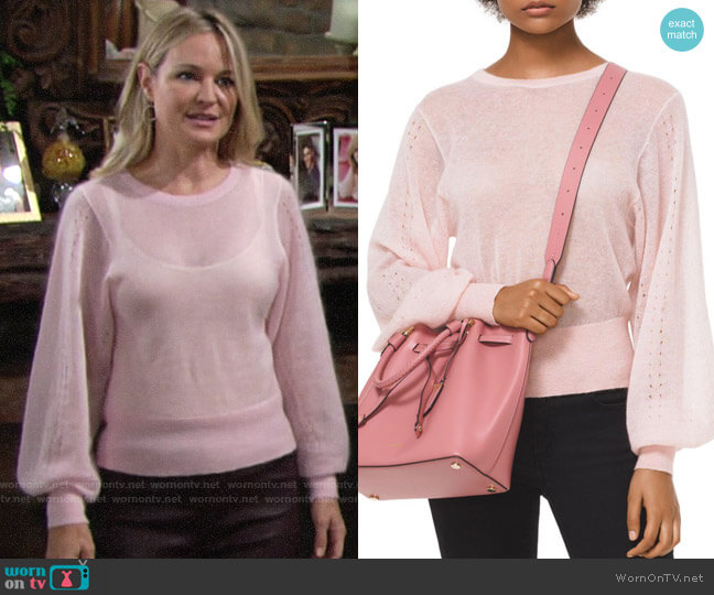 MICHAEL Michael Kors Pointelle Balloon Sleeve Sweater worn by Sharon Collins (Sharon Case) on The Young & the Restless