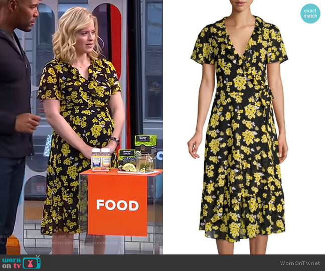 Ruffled Floral Midi Wrap Dress by MICHAEL Michael Kors worn by Sara Haines (Sara Haines) on Good Morning America