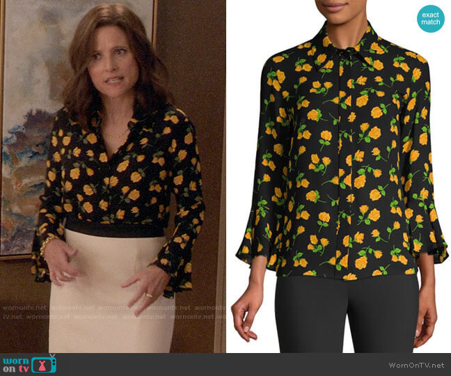 272ab4be963 Michael Kors Scattered Roses Silk Flare-Sleeve Blouse worn by Selina Meyer  (Julia Louis