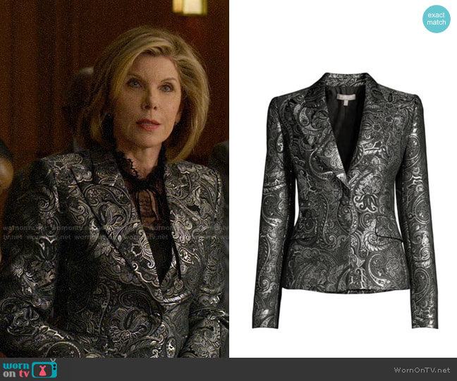 Michael Kors Collection Metallic Paisley Brocade Jacket worn by Diane Lockhart (Christine Baranski) on The Good Fight