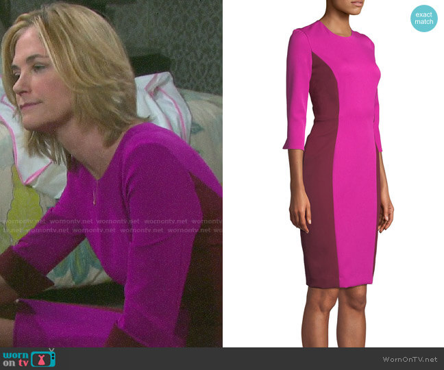 Milly Color Block Fitted Dress worn by Eve Donovan (Kassie DePaiva) on Days of our Lives