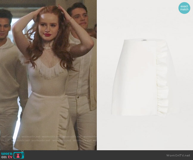 Miu Miu Wool Mini Skirt worn by Cheryl Blossom (Madelaine Petsch) on Riverdale