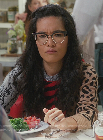 Katie's black floral shirt on American Housewife