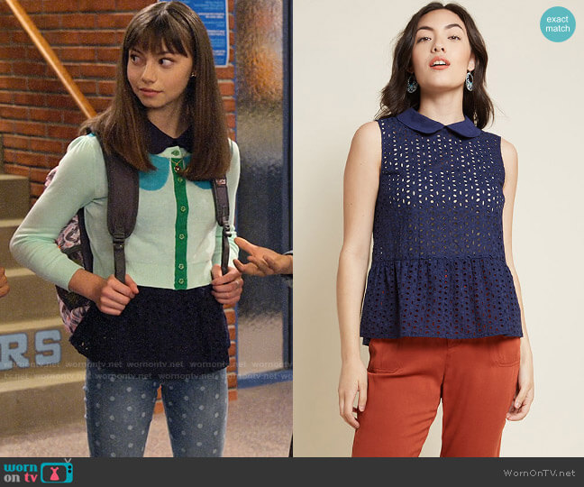 ModCloth Anything Pose Peplum Blouse worn by Molly (Lauren Lindsey Donzis) on No Good Nick