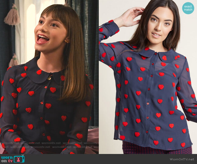 Sheer Chiffon Blouse with Chenille Heart Dots by Modcloth worn by Molly (Lauren Lindsey Donzis) on No Good Nick