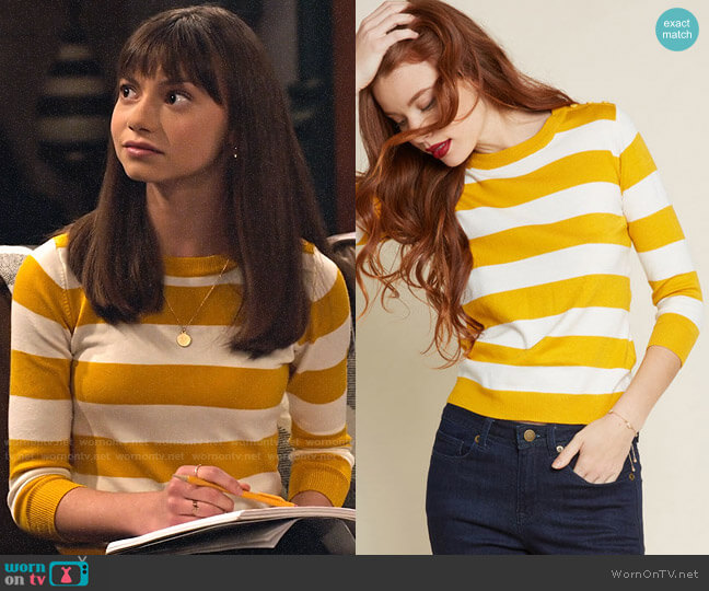 ModCloth Charter School Pullover Sweater in Mustard Stripes worn by Molly (Lauren Lindsey Donzis) on No Good Nick