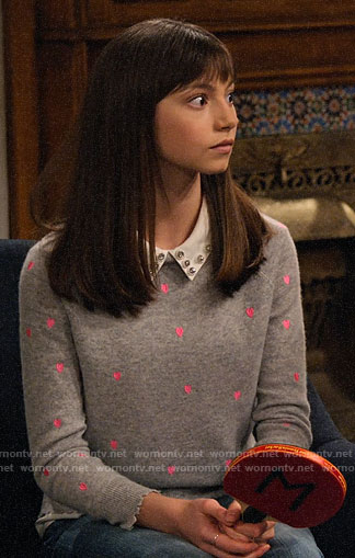 Molly's grey and pink heart sweater on No Good Nick