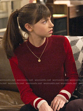 Molly's red colorblock sweater and silver oxfords on No Good Nick