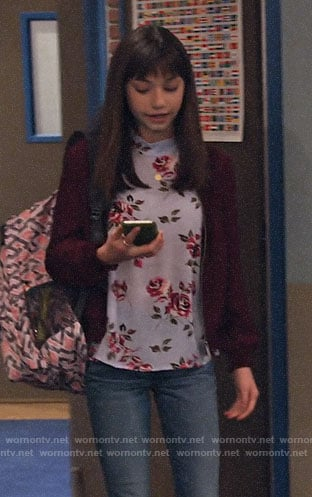 Molly's rose print top on No Good Nick