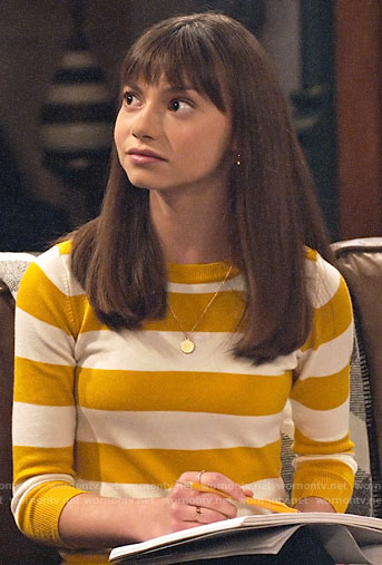Molly's yellow striped sweater on No Good Nick