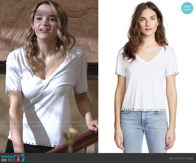Monrow Studded V-neck Tee worn by Summer Newman (Hunter King) on The Young & the Restless
