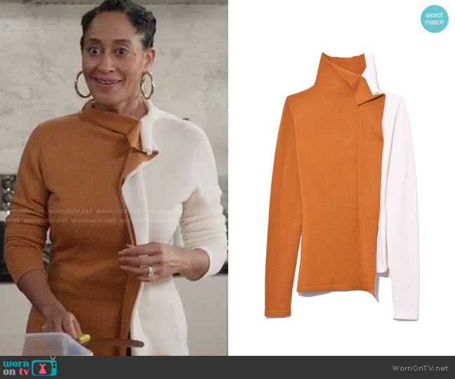 Monse Half and Half Ruffle Turtleneck in Mustard/Ivory worn by Rainbow Johnson (Tracee Ellis Ross) on Blackish