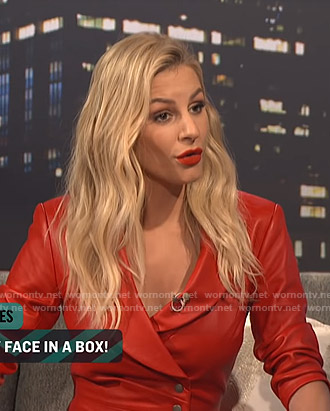 Morgan's red leather mini dress on E! News Nightly Pop