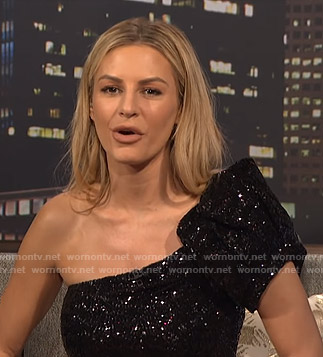 Morgan's sequin one shoulder top and shorts on E! News Nightly Pop