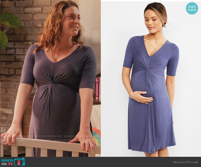 Motherhood Maternity Twist Front V-Neck Maternity Dress worn by Rebecca Bunch (Rachel Bloom) on Crazy Ex-Girlfriend