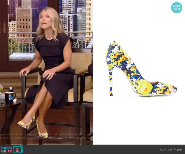Floral-Print Canvas Pumps by MSGM worn by Kelly Ripa  on Live with Kelly & Ryan