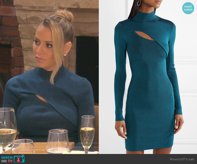 Cutout Ribbed Stretch-Knit Mini Dress by Mugler worn by Dorit Kemsley  on The Real Housewives of Beverly Hills