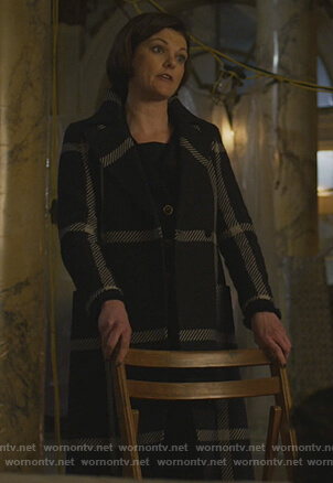 Maia's navy check coat on The Good Fight