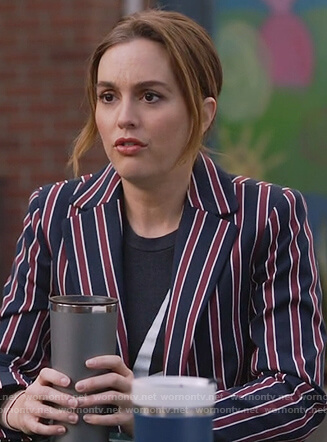 Angie's navy striped blazer on Single Parents