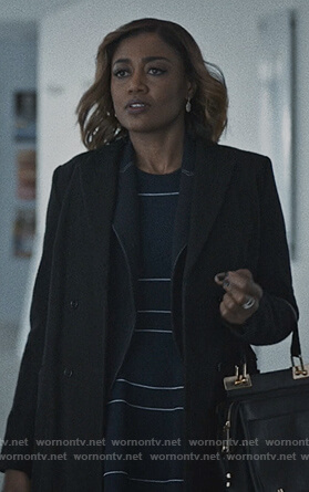 Daisy's navy striped flare dress on Madam Secretary