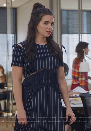 Jane's blue pinstripe asymmetric dress on The Bold Type