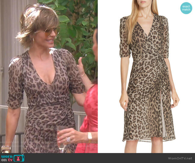 Ruched Leopard Print Silk Dress by Nicholas worn by Lisa Rinna  on The Real Housewives of Beverly Hills