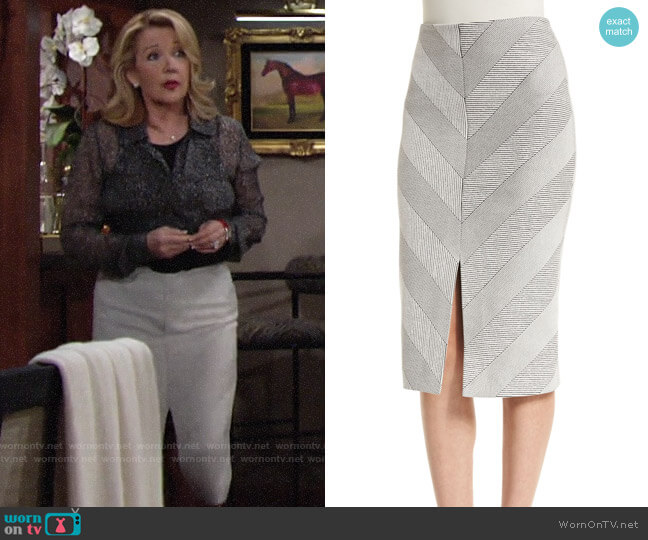 Nicholas Textured Ponte Pencil Skirt worn by Nikki Reed Newman (Melody Thomas-Scott) on The Young & the Restless