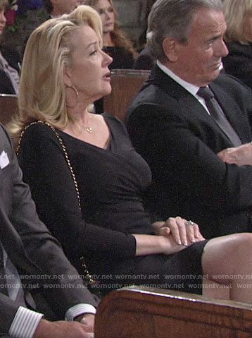 Nikki's black faux wrap dress on The Young and the Restless