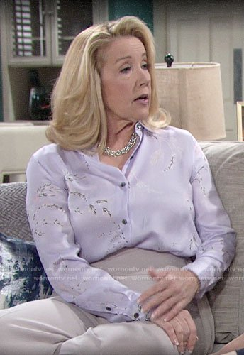 Nikki's lavender floral blouse and side-tie pants on The Young and the Restless