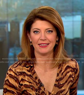 Norah's animal print wrap dress on CBS This Morning