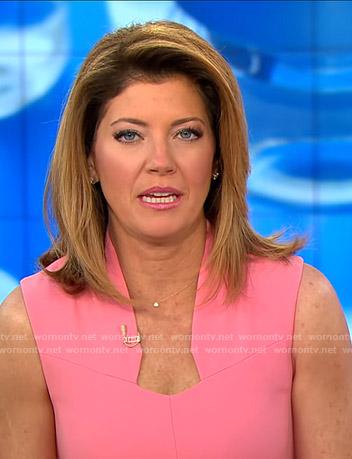 Norah's pink sleeveless sheath dress on CBS This Morning
